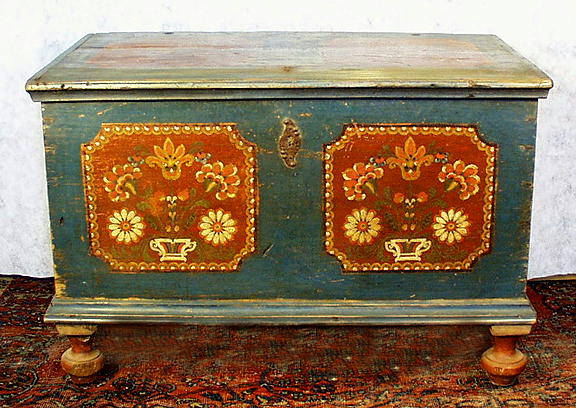 AUTHENTIC PAINTED BLANKET CHEST c.1800-50 BLC22