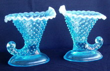 PAIR OF BLUE OPALINE GLASS FENTON CORNUCOPIA GL19