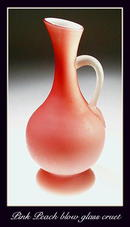 ANTIQUE PINK PEACH BLOW GLASS CRUET / GL027