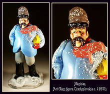 CZECH VINTAGE ART GLASS FIGURE MUSICIAN
