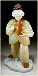 CZECH VINTAGE ART GLASS FIGURE BOY W PITCHER