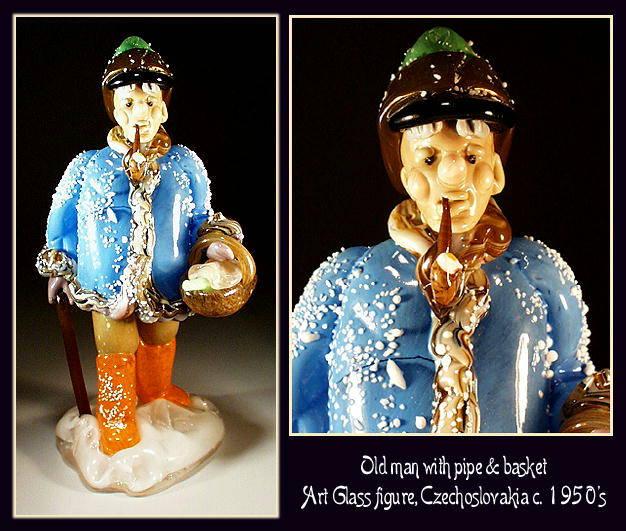 CZECH VINTAGE ART GLASS FIGURE MAN W BASKET