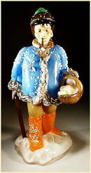 CZECH VINTAGE ART GLASS FIGURE MAN W BASKET