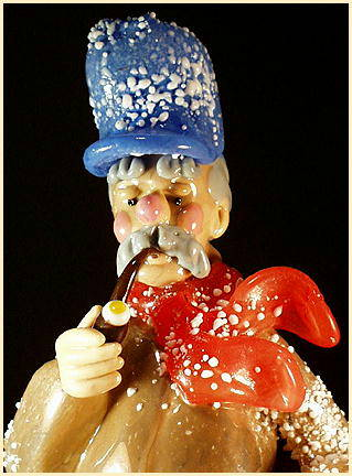 CZECH VINTAGE ART GLASS FIGURE MAN w CLARINET