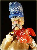 CZECH VINTAGE ART GLASS FIGURE MAN w CLARINET