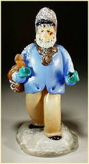 CZECH VINTAGE ART GLASS FIGURE MAN W SACK