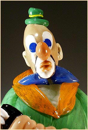 CZECH VINTAGE ART GLASS CLOWN W ACCORDION