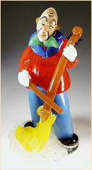 CZECH VINTAGE ART GLASS CLOWN W BROOM FIGURINE