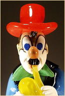 CZECH VINTAGE ART GLASS CLOWN W TRUMPET