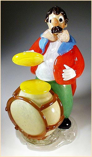 CZECH VINTAGE ART GLASS CLOWN W DRUM FIGURINE