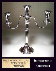 SHEFFIELD SILVER 3 TIER CANDELABRA / SL005
