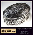 ANTIQUE DUTCH SILVER REPOUSSE FIGURAL BOX /