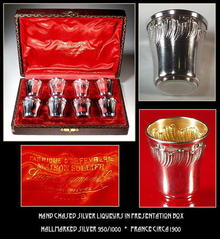 ANTIQUE FRENCH SILVER LIQUEUR SET
