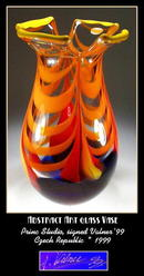 GORGEOUS SIGNED CZECH ART GLASS VASE - VALNER