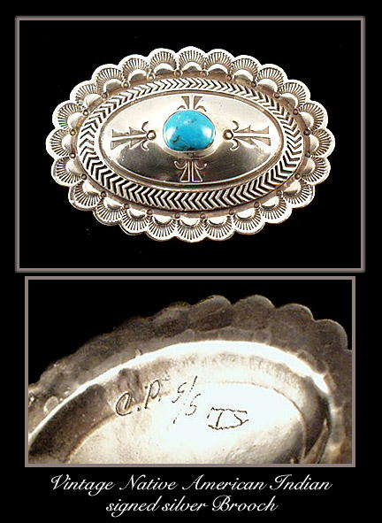 AMERICAN INDIAN SILVER TURQUOISE BROOCH / SL033