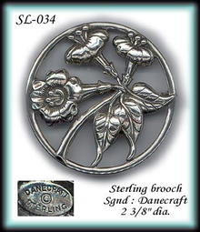 VINTAGE DANECRAFT STERLING BROOCH SL034