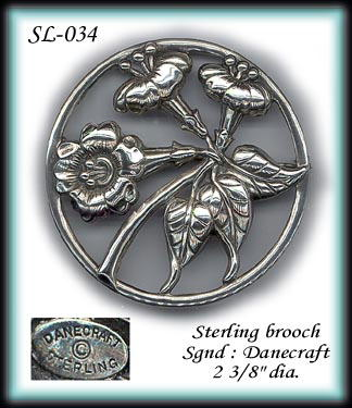 VINTAGE DANECRAFT STERLING BROOCH SL034
