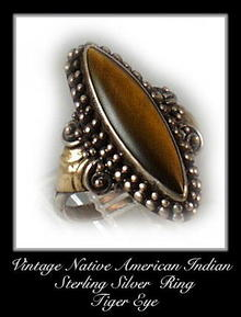 VINTAGE SIGNED AMERICAN INDIAN SILVER RING #84