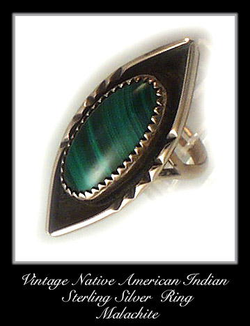 VINTAGE AMERICAN INDIAN SILVER MALACHITE RING #85