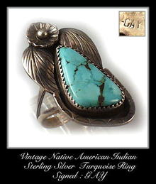 VINTAGE SIGNED AMERICAN INDIAN SILVER TURQUOISE RING #86