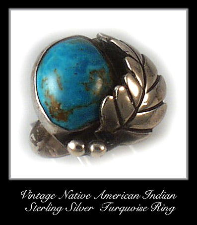 VINTAGE AMERICAN INDIAN SILVER TURQUOISE RING #87