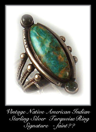 VINTAGE AMERICAN INDIAN SILVER TURQUOISE RING #89