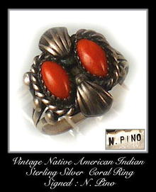 VINTAGE SIGNED AMERICAN INDIAN SILVER CORAL RING #92