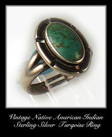 VINTAGE SIGNED AMERICAN INDIAN SILVER TURQUOISE RING #93