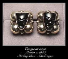 VINTAGE MEXICAN SILVER EARRINGS BLACK ONYX MASKS #97