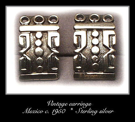 VINTAGE MEXICAN SILVER EARRINGS #98
