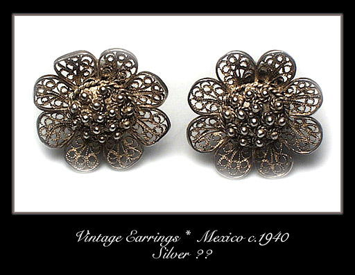 VINTAGE MEXICAN SILVER EARRINGS #102