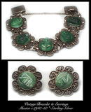 VINTAGE MEXICAN SILVER BRACELET & EARRINGS SET