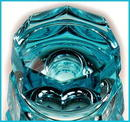 ART DECO AQUA BLUE CUT CRYSTAL VASE MOSER