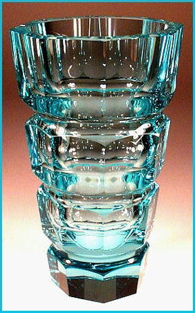 ART DECO AQUA BLUE CUT CRYSTAL VASE MOSER