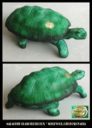CZECH MALACHITE COLOR GLASS TURTLE POWDER BOX
