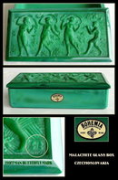 CZECH MALACHITE color glass POWDER BOX HOFFMAN
