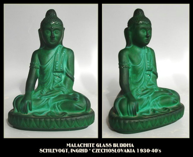 CZECH 1930's MALACHITE color GLASS BUDDHA