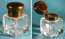 ANTIQUE GLASS INKWELL WITH BRASS TOP MS-22