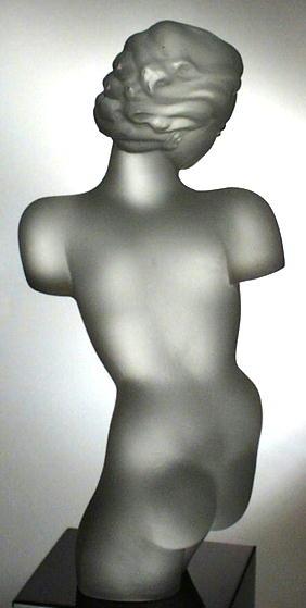 CZECH ART DECO GLASS FEMALE TORZO SCULPTURE