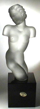 CZECH ART DECO GLASS FEMALE TORZO SCULPTURE