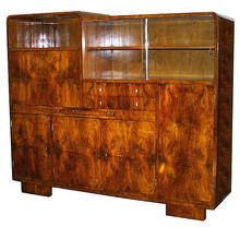 MAGNIFICENT ART DECO BURL WALNUT SECRETARY F-27