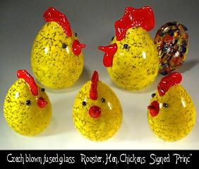 HANDBLOWN ART GLASS ROOSTER, HEN, CHICKENS 5 pc