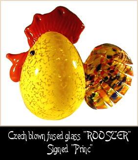 HANDBLOWN ART GLASS ROOSTER, HEN, CHICKENS 5 pc