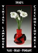 10 VINTAGE LAMPWORK BEAD VASE PENDANTS #295