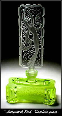 CZECH URANIUM GLASS HOLLYWOOD STAR PERFUME