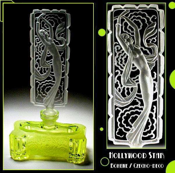 CZECH URANIUM GLASS HOLLYWOOD STAR PERFUME