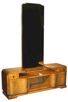 ART DECO BURL ELM ROOT VANITY WITH MIRROR F-37
