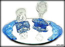 2 CZECH ART DECO BLUE NYMPH HANDLES for vanity tray
