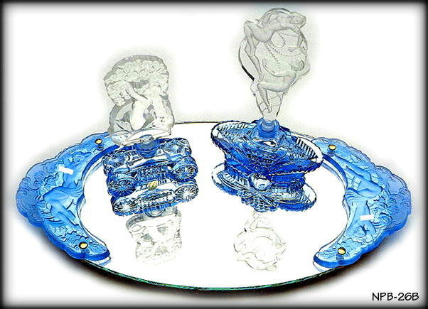 2 CZECH DECO BLUE NYMPH HANDLES for vanity tray