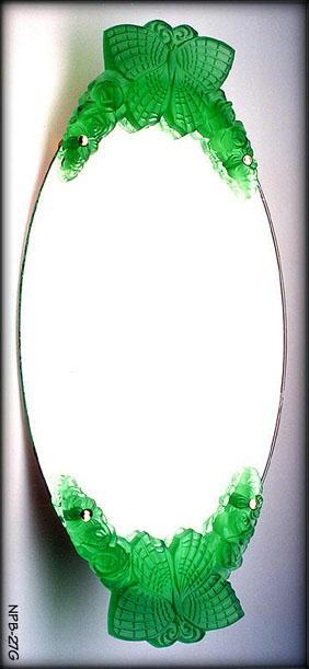 2 CZECH DECO VANITY TRAY GREEN BUTTERFLY
